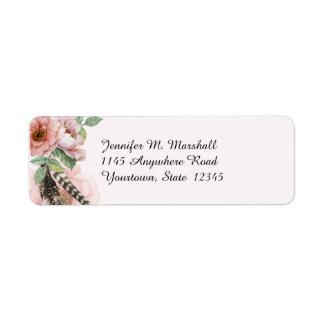 Boho Feathers and Flowers Return Address Label