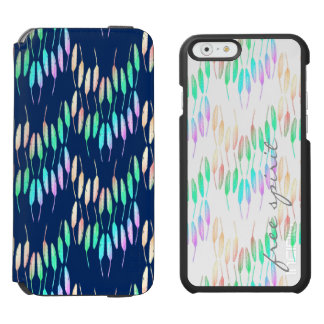 Boho Feathers Bohemian Multicolor Long Tail Bird Incipio Watson™ iPhone 6 Wallet Case