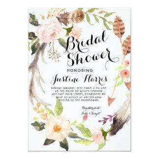 Boho feathers Bridal Shower Invitation