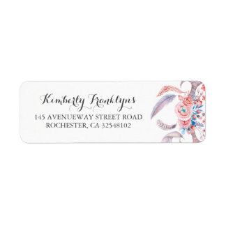 boho feathers floral watercolor wedding return address label