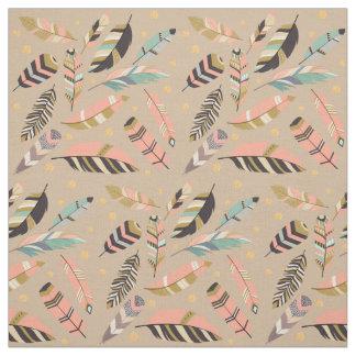 Boho Feathers on Tan Fabric
