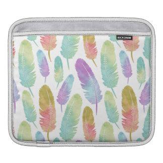 Boho Feathers Pattern Rainbow Watercolor iPad Sleeve