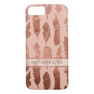 Boho Feathers Rose Gold Leaf Faux Watercolor Blush iPhone 7 Case