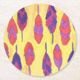 Boho Feathers Round Paper Coaster