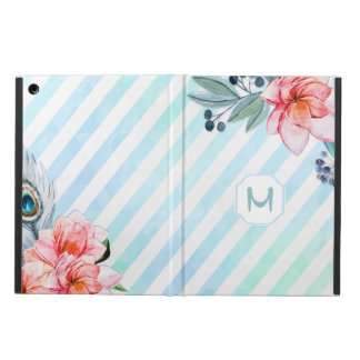 Boho Feathers Watercolor Stripe Floral iPad Air Cover