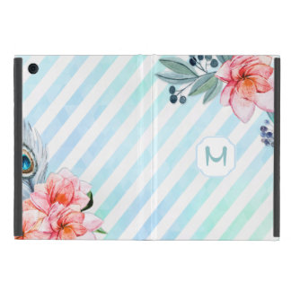 Boho Feathers Watercolor Stripe Floral iPad Mini Case