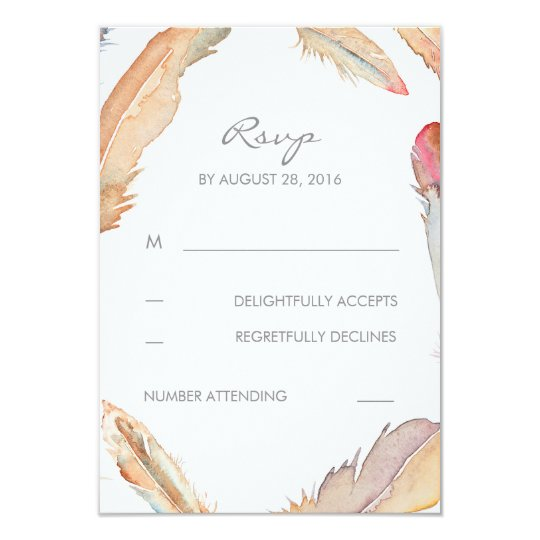 Boho Feathers Watercolor Wedding RSVP Cards