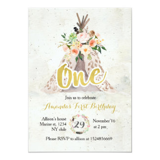 Boho First Birthday Invitation