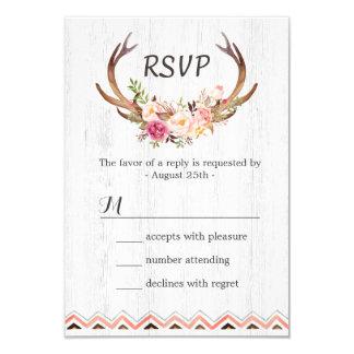 "Boho Floral Antler Rustic White Wood Wedding RSVP 3.5"" X 5"" Invitation Card"
