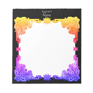 Boho Floral Bohemian Bold Colourful Drawn Tapestry Notepad