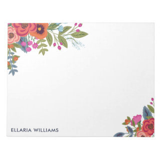Boho Floral Bouquets - Name Notepad