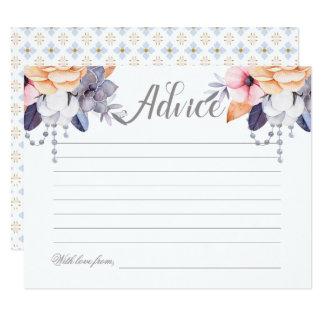 Boho Floral Bridal Shower Wedding Advice Card