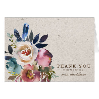 Boho Floral Feather Rustic Shower Thank You Card