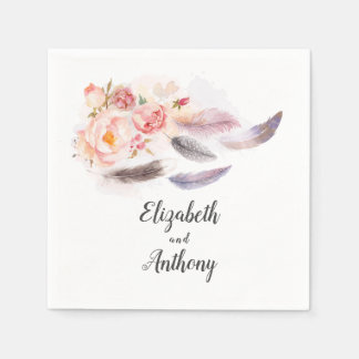 Boho Floral Feathers Disposable Napkin