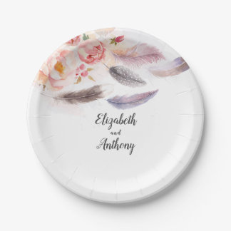 Boho floral Feathers Paper Plate