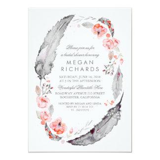 Boho Floral Feathers Vintage Bridal Shower Card