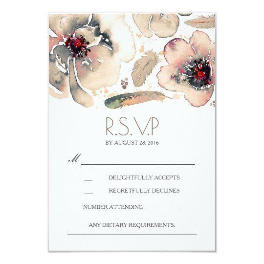 Boho Floral Feathers Watercolor Ivory RSVP Card