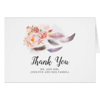 Boho Floral Feathers Wedding Thank You Card