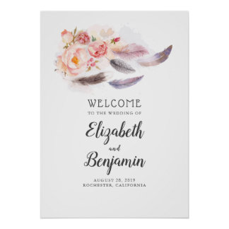 Boho Floral Feathers Wedding Welcome Sign