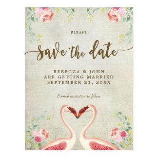 boho floral flamingo wedding save the date postcard