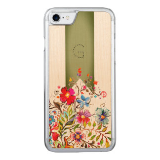 Boho Floral Green Customizable Carved iPhone 8/7 Case