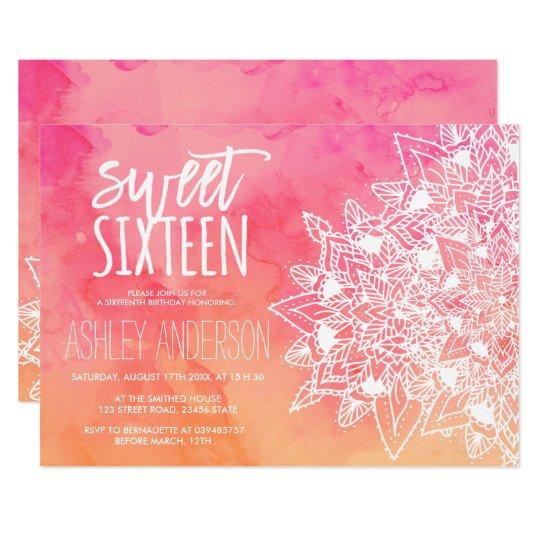 Boho floral lace mandala pink watercolor Sweet 16 Card