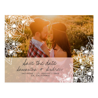 Boho floral mandala photo save the date wedding postcard