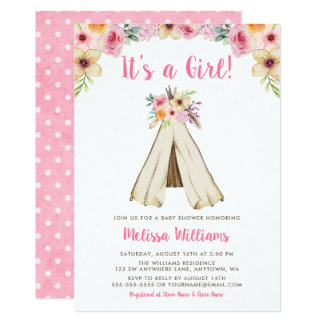 Boho Floral Tribal Teepee Girl Baby Shower Card