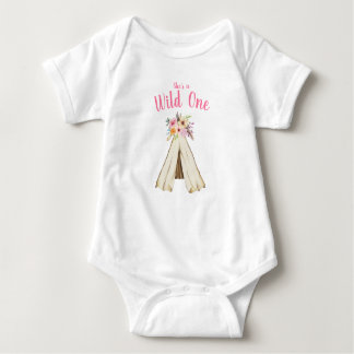 Boho Floral Tribal Teepee Wild One 1st Birthday Baby Bodysuit