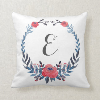 Boho Floral Watercolor Red Roses | Monogram Throw Pillow