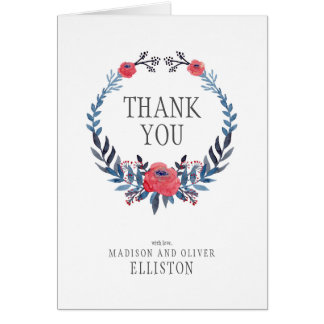 Boho Floral Watercolor Red Roses | Thank You Card