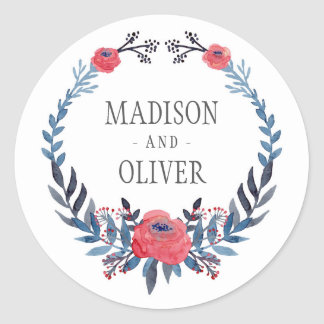 Boho Floral Watercolor Red Roses | Wedding Round Sticker