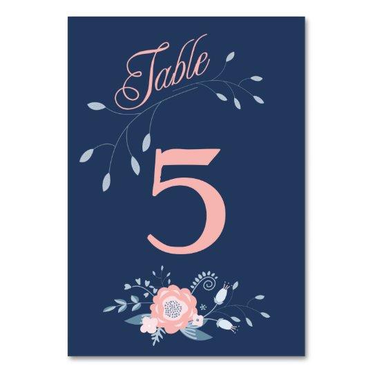 Boho floral wedding table number cards Blush blue