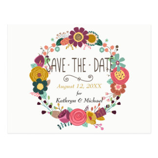 Boho Floral Wreath Wedding Save the Date Postcard