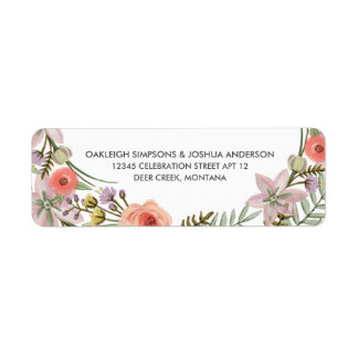Boho Flower Watercolor | Return Address Labels