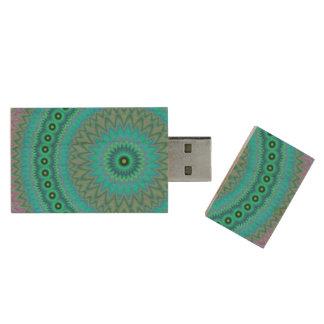 Boho flower wood USB 3.0 flash drive