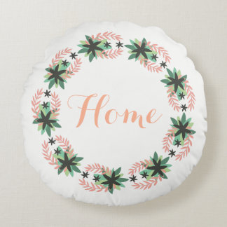 Boho Flower Wreath | Round Pillow