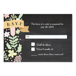 Boho Flower Wreath Rustic Chalkboard Wedding Card
