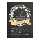 Boho Flower Wreath Rustic Chalkboard Wedding Card