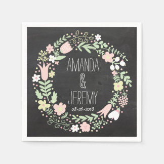 Boho Flower Wreath Rustic Chalkboard Wedding Paper Napkins