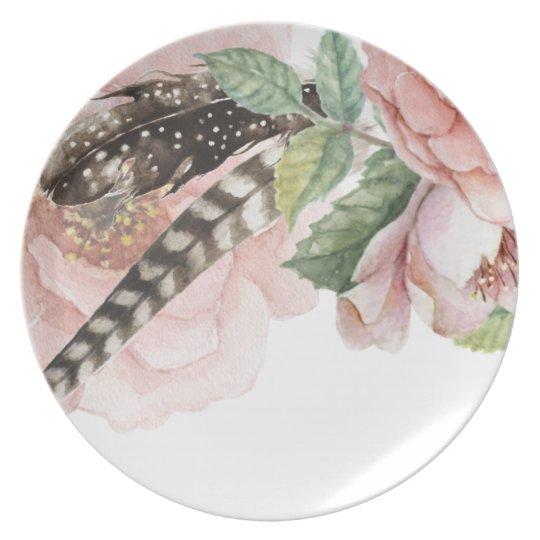 Boho Flowers and Feathers Plate