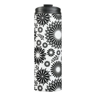 Boho flowers Black and White vector floral pattern Thermal Tumbler
