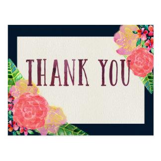 Boho Flowers Thank You Postcard