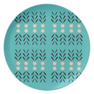BOHO FOLK BLUE ORNAMENTS PLATE
