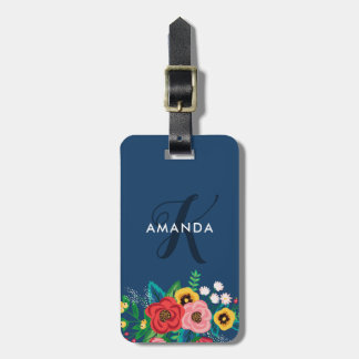 Boho Folk Flowers - Deep Blue Monogram Luggage Tag
