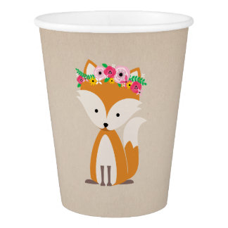 Boho Fox Baby Shower Brown Paper Cup
