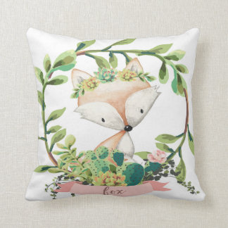 Boho Fox Cactus Baby Nursery Watercolor Pillow