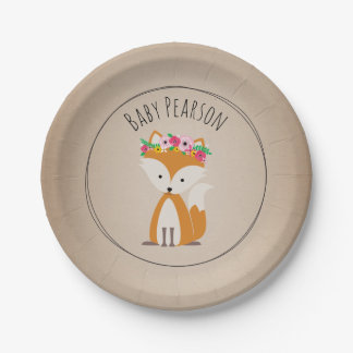 Boho Fox Cardstock Inspired Custom Baby Shower Paper Plate