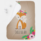 Boho Fox Personalized Baby Blanket - Brown