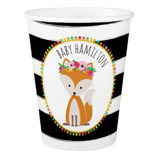 Boho Fox Stripes Baby Shower Cup
